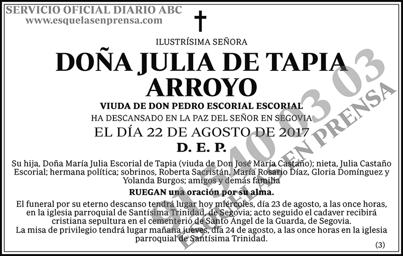 Julia de Tapia Arroyo